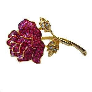 Large Single Pink Rose Pin 24K Gold Swarovski