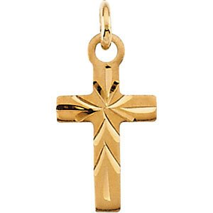 Childrens 14k Yellow Gold Engraved Design Cross Pendant Necklace, 15