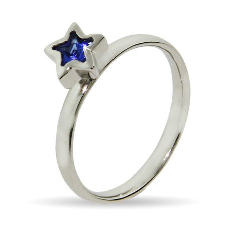 Stackable Reflections Blue CZ Star Silver Stackable Ring Size 6 (Sizes 4 5 6 7 8 9 Available)