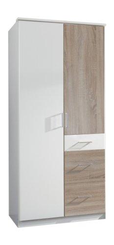 Wimex-152624-Kleiderschrank-90-x-199-x-58-cm-2-trig-mit-zwei-groen-und-einen-kleinen-Schubkasten-Front-und-Korpus-alpinwei-Absetzungen-eiche-sgerau-Nachbildung