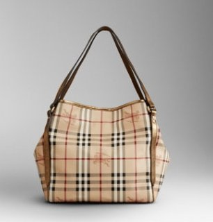 Burberry Logo Crest Check Print Tote
