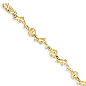 Amazon Com 14k Yellow Gold Dolphin And Shell Bracelet