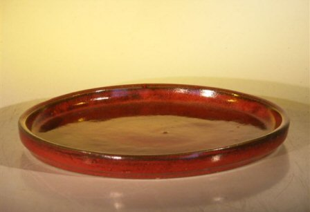 Bonsai Boy's Parisian Red Ceramic Humidity Drip Bonsai Tray - Round 10 0 x 1 25 OD 9 5 x 1 0 ID