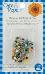 Dritz Color Ball Straight Pins Size 28 90/Pkg Assorted Colors 9612D; 6 Items/Order