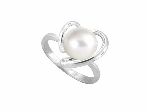 Amore Sterling Silver Cultured Pearl Heart Ring 6557SIL/PL