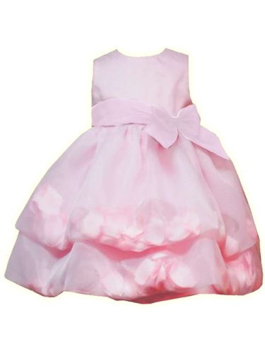 Rare Editions Infant Girls 12M-24M 2-Piece PINK FLOATING PETAL ORGANZA Special Occasion Wedding Flower Girl Party Dress-24M-RRE-20799F-F120799
