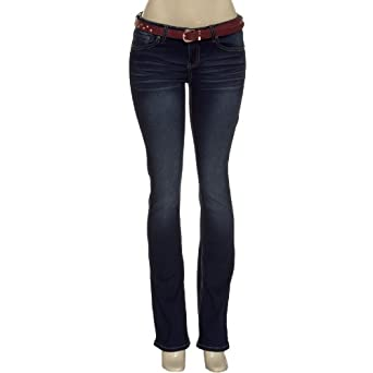 YMI Studded Whiskered Flare Jeans w/ Studded Red Belt,S08,0