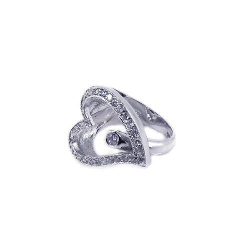 Sterling Silver Open Heart CZ Sideway Ring Size 5