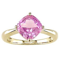 10K Yellow Gold Created Pink Sapphire Ring