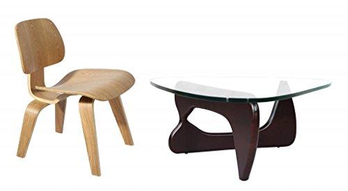 Mlf Eames Molded Plywood Lounge Chair + Isamu Noguchi Table (12 Sets) (Chair: 1 Natural Plywood, Table: Dark Walnut Ash Wood)