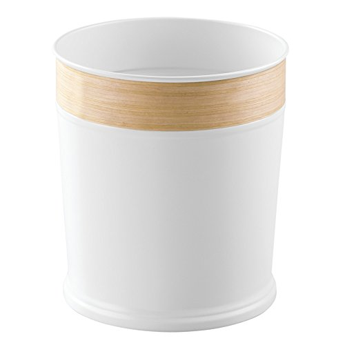 InterDesign RealWood Wastebasket Trash Can - White/Light Wood Finish (White Wood Trash Can compare prices)