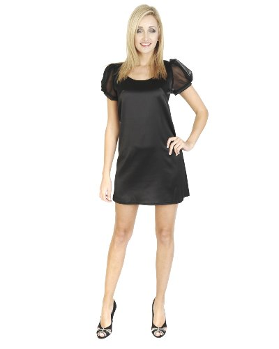 Black-Mo-Short-Mini-Puffball-Cocktail-Party-Formal-Short-Sleeve-Evening-Scoop-Neck-ZipDress