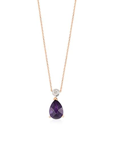 Divas Diamond Set catenina e pendente Diamond Gold Amethyst Oro Rosa