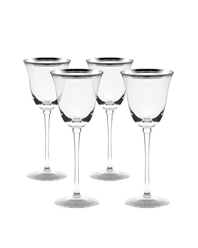 10 Strawberry Street Set Of 4 Windsor White Wine Glasses With Silver Band, Clear/Silver