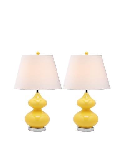 Safavieh Set of 2 Eva Double Gourd Glass Lamps, Yellow