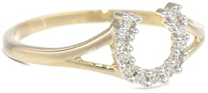 XPY 14k Yellow Gold Diamond Horseshoe Ring (1/10 cttw, I-J Color, I2-I3 Clarity), Size 8