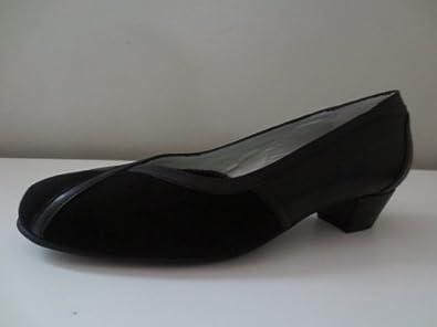 Xsensible Womens Black Stylish Stretchable Stretch Leather Suede Slip-On Pump Shoe 41 H, 9 / 9.5 Medium
