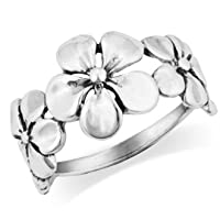 MIMI 925 Sterling Silver Triple Plumeria Flower Ring by Mimi Silver