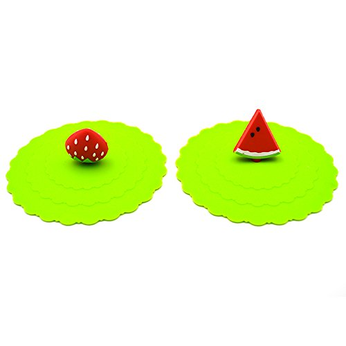 Generic 2Pcs/Set Watermalen And Strawberry Silicone Leak Proof Seal Lid Cup Cover (Random)