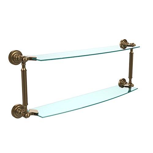 Allied Brass PQN-33//24-PB Prestige Que New Collection 24 Inch Glass Shelf Polished Brass