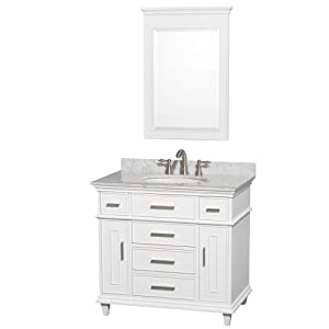 36 inch single bathroom vanity in white with white carrera marble top