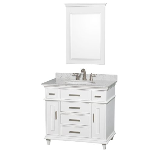 Berkeley Single Bathroom Vanity In White 36 Inch With White Carrera Marble Top With White Undermount Oval Sink And 24 Inch Mirror