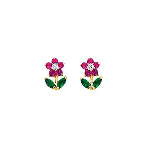 14K Yellow Gold Flower Cz Stud Earrings