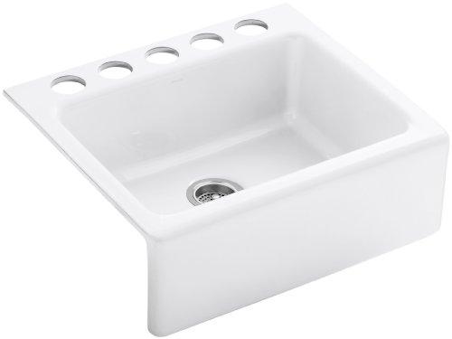 Kohler K-6573-5U-0 Alcott Apron-Front, Undercounter Kitchen Sink (White)