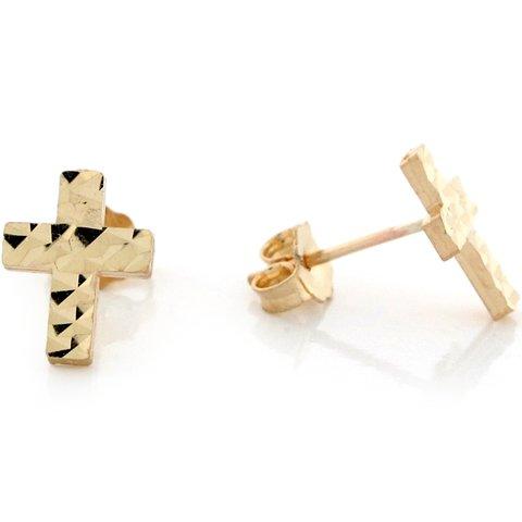 10k Yellow Real Gold Cross Crucifix Religous Womens Earrings
