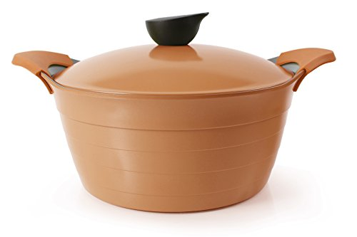 Neoflam 7Qt Eela Covered Stockpot With Detachable Silicone Handles And Ecolon Non-Stick Coating, Orange front-456376