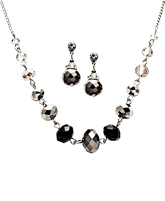 C.A.K.E By Ali Khan Jewelry Set, Jet Black Glass Crystal Bead Necklace And Drop Earrings Set