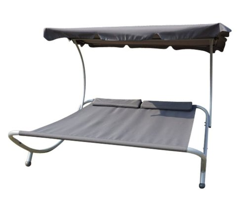 Outsunny Double Wide Patio Pool Hammock Bed Lounger w/ Sun Shade – Gray