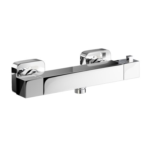 Chrome Square Thermostatic Exposed Bar Mixer Shower Valve Set