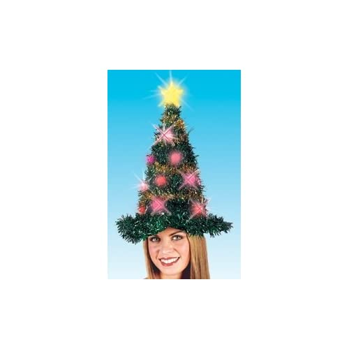 19 Light Up Adult Battery Operated Bright & Colorful Tinsel Christmas Tree Hat