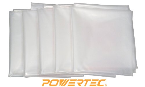 POWERTEC 70002 Clear Plastic Dust Collection Bag, 32-Inch x 43-Inch, 5-Pack