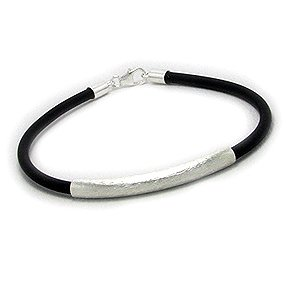 Stylish Men's Leather Bracelet  Brushed Silver