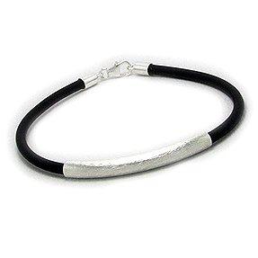 Stylish Men's Leather Bracelet  Brushed Silver