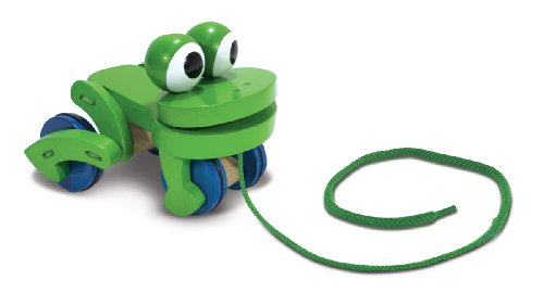 Melissa & Doug Deluxe Wooden Frolicking Frog Pull Toy