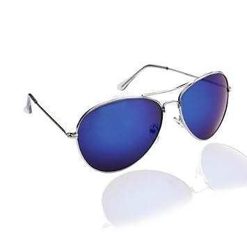 88ebf7bce8eff5 PURECITY© - Lunettes de Soleil Type Aviateur - Pilote - Fbi - Monture Métal  - Verre Effet Miroir Bleu - Mixte Fashion Tendance Retro Vintage 80  39 s -