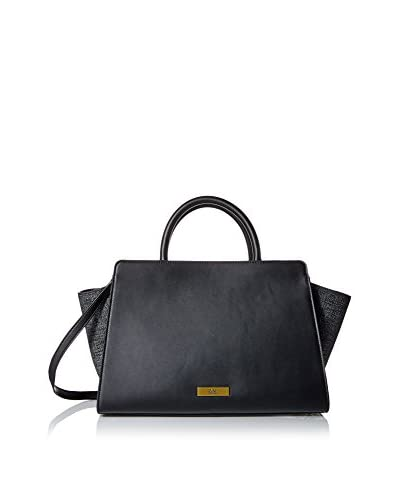 ZAC Zac Posen Women's Tweed Eartha East/West Satchel, Black