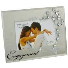 Engagement Mirrored Glass Photo Frame Diamantes Surround