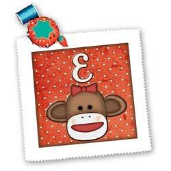 Dooni Designs Monogram Initial Designs - Cute Sock Monkey Girl Initial Letter E - Quilt Squares