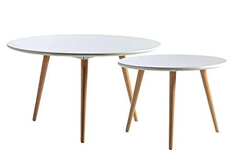 Paires de tables basses gigognes vintages rondes blanches