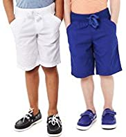 2 Pack Pure Cotton Ribbed Waistband Drawstring Shorts