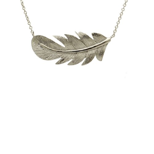 apop nyc Sterling Silver Feather Pendant Necklace 16-17 inch