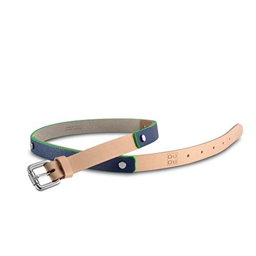 Cintura da donna Made in Italy di pelle Saffiano con rivetti DUDU Blu