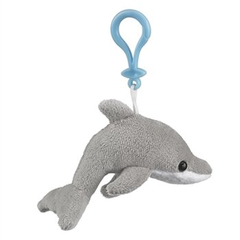 Dolphin Stuffed Animal Clip Toy Keychain By Wild Life Artist - 1