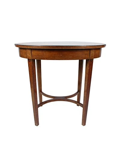 Burl Wood Oval Library Table, Brown