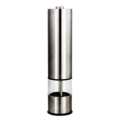 Fu Store Electric Peppermill Battery Operated Stainless Steel Salt and Pepper Mill Grinder, Adjustable Ceramic Grinding Mechanism