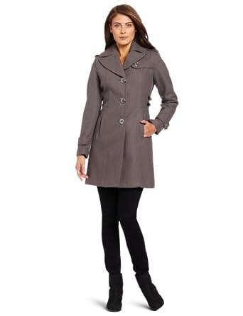 【羊毛大衣推荐】Kenneth Cole Women's Melton Walker Coat 凯尼斯柯尔女士羊毛大衣灰$88.65